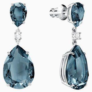 Swarovski vintage drop pierced earrings, teal